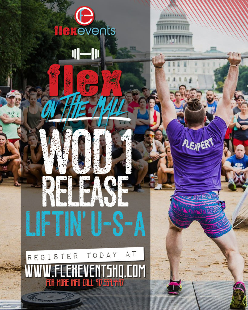 Flyer for our Flex on the Mall WOD 1 Liftin' USA Blog Post